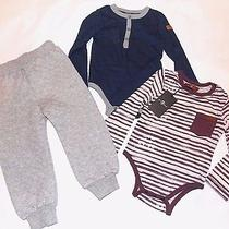 Seven 7 for All Mankind Seven New Boys 3 Piece Jogger Onsie Set 24 Months 24m Photo