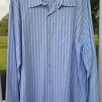 Seven for All Mankind 74am Cotton Rayon Blend Blue White Striped Casual Shirt Xl Photo