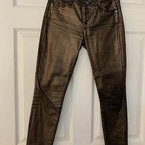 Seven for All Mankind Bronze Gold Black Metallic Skinny Jeans Denim Pants Euc 24 Photo