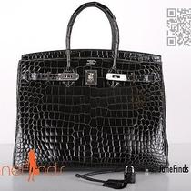 Sexiest Hermes Birkin Bag 35cm Crocodile Graphite Shiny Porosus Palladium  Photo