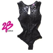 Sexy 2b Bebe Black Lace Lingerie Sexy Bodysuit Top Tank Party Club Sz Small Photo