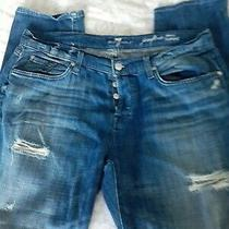 Sexy 7 for All Mankind Destroyed Josefina Skinny Boyfriend Buttonfly Jeans Sz 31 Photo