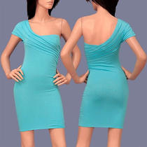 Sexy Aqua One Shoulder Poly Stretchy Fitted Sun Mini Dress M Party Glam Dress Photo