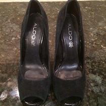 Sexy Black Aldo Suede Peep Toe High Heel Pumps Size 6.5 Photo