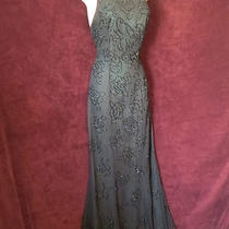 Sexy Black Antique Green Hue Beaded Rosette Cross Back Formal Halter Dress Xs Photo