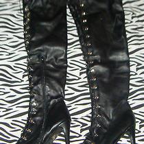 Sexy Black Corset Goth Thigh High Boots 11 Torrid Vintage Club Stripper 26