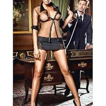 Sexy Black Secretary Lingerie Costume Mini Skirt Set Bedroom Fantasy Photo