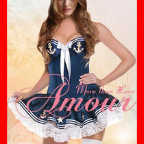 Sexy Carnival Hot Marine Sailor Navy Girl Costume Blue Dress Fancy Party V9054b Photo