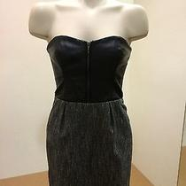 Sexy & Chic Bebe Black Leather Corset Dress Above Knee Strapless Size 2  Photo