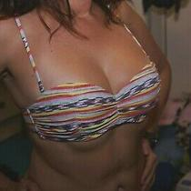 Sexy Color Stripes Bikini Top Bra Very Cute Bilabong  Size Medium Photo