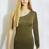 Sexy Evening Stripper Green/khaki Long Dress With Real Swarovski Size S Photo