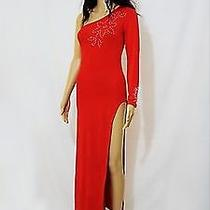 Sexy Evening Stripper Long Red Dress With Real Swarovski Size S Photo