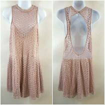 Sexy Express Women's Dusty Rose Lace Romper L Sleeveless Cut Out Back Euc Photo