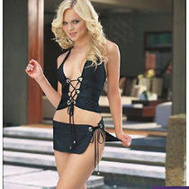 Sexy Fantasy Stripper Tie Side Skirt Purple Microfiber Halter Lace Up Camisol Lg Photo