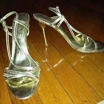 Sexy Gold Aldo Heels Snakeskin Strappy Wedding Shoe Size 39 Photo