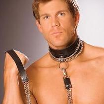 Sexy Male Stripper Accessory Men's Leather Fantasy Role Play Chain & Leash Photo