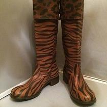 Sexy Moschino Brown Animal Print Leather Knee- High Boots Size 40eu 10us Italy   Photo