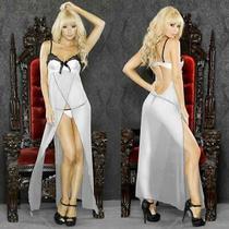 Sexy Plus Size Lingerie Size 1x Vinyl  White Long Gown W/ G-String F0011x Photo