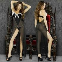 Sexy Plus Size Lingerie Size 2x Vinyl Black Long Gown W/ G-String F0011x Photo