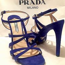Sexy Prada High Heels Strappy Cage Blue Suede Shoes Silver Size 10/40 4.5