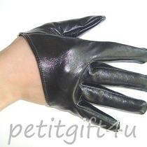 Sexy Shining Faux Leather Short Half Palm Gloves  Black  Photo