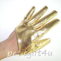 Sexy Shining Faux Leather Short Half Palm Gloves  Gold Photo