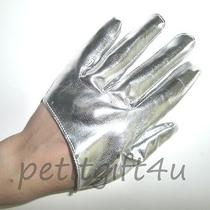 Sexy Shining Faux Leather Short Half Palm Gloves  Silver  Photo