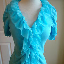 Sexy Tracy M Aqua Top With Ruffles Down the Front Size Small Photo