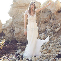 Sexy v-Neck Beadings Wedding Dress Chiffon Anna Campbell Bridal Gown Custom Made Photo