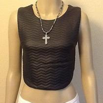 Sexy Women Cropped Black Faux Biker Moto Leather Vest Size Medium h&m Forever 21 Photo