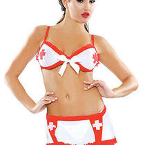 Sexy Women's White and Red Nurse Costume. Fantasy Bedroom Lingerie. One Size Photo