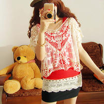 Sexy Women Sheer Lace Top Flowy Sack Blouse Vest T Shirt Fancy Tees Cropped Tops Photo
