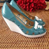 Seychelles Platforms Aqua/teal Patent Leather Peep Toes Wedge  Size 9 Photo