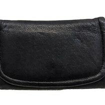 Sf Wallet Trifold Clutch Black Leather With Crossbody Strap Excellent  Photo
