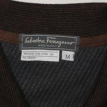 Sf1844 Salvatore Ferragamo Made in Italy Dark Brown 1/2 Zip High End Golf Shirt Photo