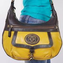 Sharif Medium Yellow Brown  Leather Shoulder Hobo Tote Satchel Purse Bag Photo