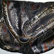Sharif Snakeskin Lizard Croc Patchwork Wearable Art Crossbody Messenger Bag  Photo