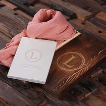 Shawl & Personalized Journal Diary W/wood Boxpink Blush Mom Friend Bridesmaid  Photo