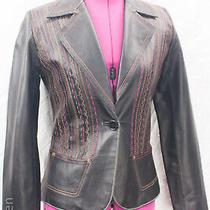 Sheri Bodell Embroidered Stitched Genuine Leather Blazer Cut Jacket Sz S Photo