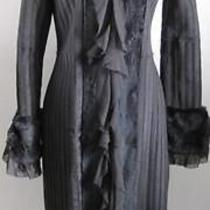Sheri Bodell Rabbit Fur Silk Ruffled Coat Dress Sz Small Photo