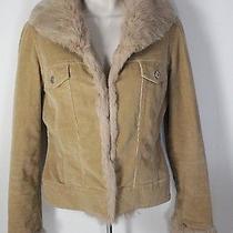 Sheri Bodell Size M Brown Khaki Rabbit Fur Corduroy Jacket Photo