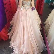 Sherri Hill Sz 0 Custom Pageant Couture Gown Crystals Blush Pink Long Dress Photo