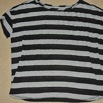 Shimera Elements Sleepwear Separates Shirt Top Gray & Black Striped Size L Nwt Photo