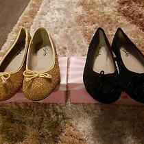 Shining Girls Glitter Ballet Flats 2 Prs. Black and Gold Size 2 Euc Photo