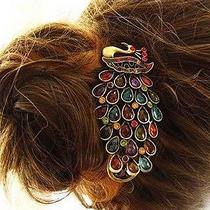 Shining Jewelry Crystal Lovely Vintage Peacock Hair Clip Photo