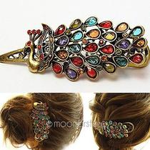 Shining Rhinestone Colorful Peacock Hairpin Fashion Hair Clip Barrette Accessory Photo