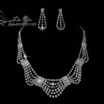 Shining Wedding Bridal Crystal Necklace Earring Prom Gp Silver Jewelry Set  Xl24 Photo