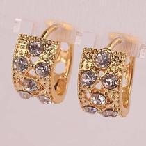 Shining Women 14k Gold Filled Clear Austrian Crystal Hoop Earrings Jewelry D549 Photo