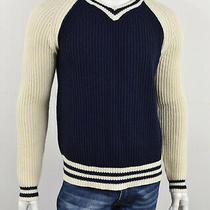 Shipley & Halmos Navy & Ivory Lambs Wool Ribbed v-Neck University Sweater L Photo