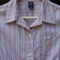 Shirt Top Womens Gap Blouse Pink Green Red Blue Stripes Medium Long Sleeves M Photo